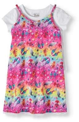 TROLLS Girls' Rainbow Lace Trim Slip Dress with T-Shirt 2-Piece Set