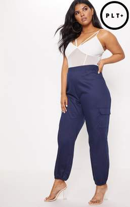 PrettyLittleThing Plus Ivory Pocket Detail Cargo Trousers