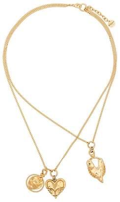 Givenchy gold metallic trio heart necklaces