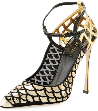 Sergio Rossi Scale & Cutout-Leather Ankle-Strap Pump