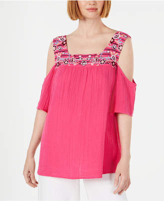 Style&Co. Style & Co Cotton Embroidered Cold-Shoulder Top