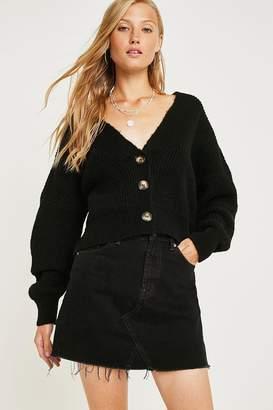 BDG Austin Overdyed Black Notched Denim Mini Skirt