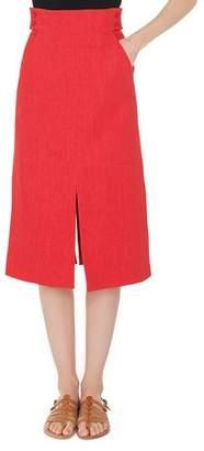 Akris High-Waist A-Line Cotton-Stretch Denim Midi Skirt with Slits