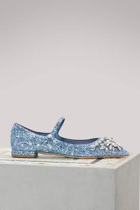 Miu Miu Jewel glitter ballet pumps