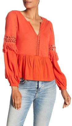 Lucky Brand Cutout Fringe Blouse