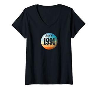 Womens Made in 1991 Vintage Retro Color Globe 28th Birthday V-Neck T-Shirt