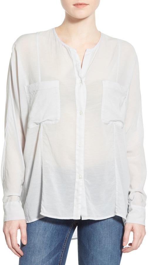 James PerseJames Perse Oversize Collarless Chiffon Shirt