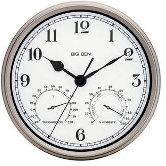 "Westclox Big Ben 12"" Indoor/Outdoor Clock, Silver"