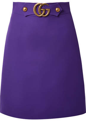 Gucci Embellished Wool And Silk-blend Skirt - Violet