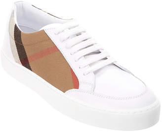 Burberry Leather & Check Low-Top Sneaker