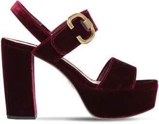 Prada 110mm Velvet Platform Sandals