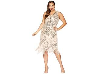Unique Vintage Plus Size Veronique Fringe Flapper Dress Women's Dress