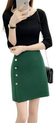 Drasawee Women's Elastic Basic Bodycon Mini Knitted Skirt High Waist A Line Dress