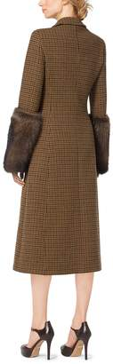 Michael Kors Fur-Cuffed Guncheck Wool-Melton Coat