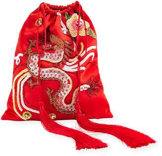 ATTICO Dragon-Embroidered Satin Pouch Bag