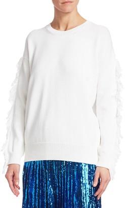 N°21 N° 21 Fringe Sleeve Cableknit Sweater