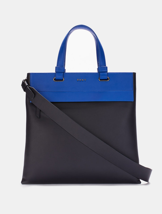 DKNY HEAVY NAPPA LEATHER NORTH\u002FSOUTH TOTE