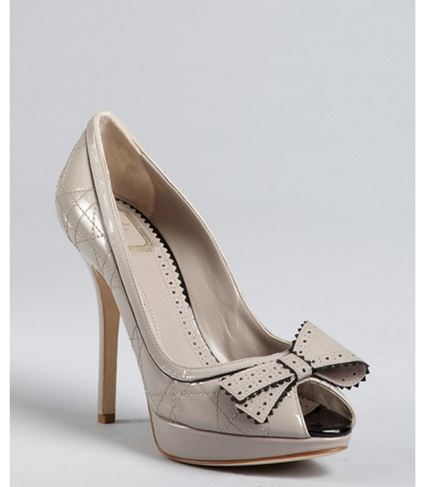 Christian Dior grey cannage patent leather bow detail platform pumps
