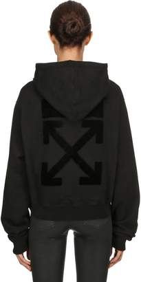 Off-White Arrow Flocked Hooded Crop Sweatshirt