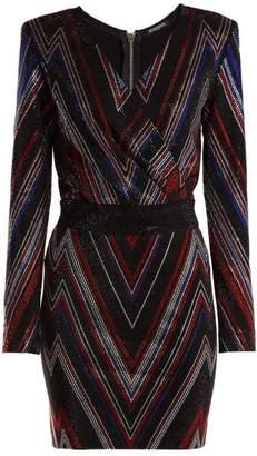 Balmain Chevron Stripe Mini Dress - Womens - Black Multi