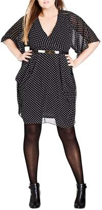 City Chic Polka Dot Faux Wrap Dress
