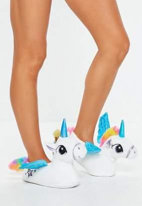 Missguided White Unicorn Slippers