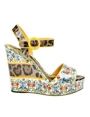 Dolce & Gabbana Sandal With Printed Patented Wedge