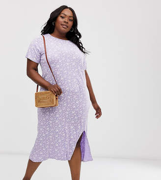Daisy Street Plus midi t-shirt dress with split in ditsy floral print