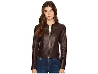 Via Spiga Zipped Leather Jacket Women's Coat
