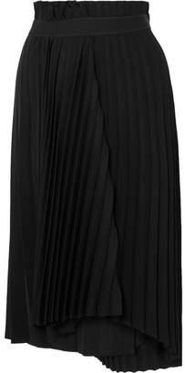 Balenciaga Fancy Intarsia Pleated Crepe Midi Skirt - Black