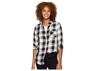 ALEXANDER JORDAN Long Sleeve One-Pocket Covered Placket Plaid Shirt Women's Clothing