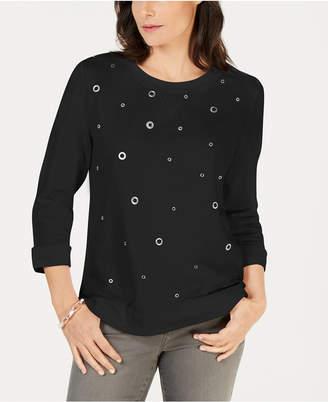 Karen Scott Embellished Sweatshirt