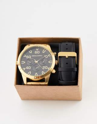 Asos DESIGN interchangeable watch gift set with oversized gold tone bracelet watch and sub dials