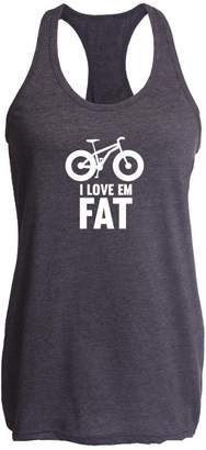 E.m. Pop Threads I Love Fat - Mountain Bike Tires M Womens Tank Top
