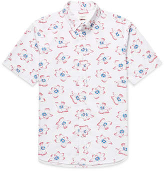Club Monaco Button-Down Collar Printed Cotton-Seersucker Shirt