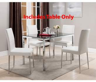 """Pilaster Designs Leina Chrome Metal & Black Tempered Glass Top Modern 48"""" Rectangle Kitchen Dinette Dining Table"""