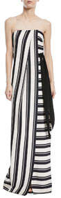 Strapless Striped Gown w/ Tie Waist