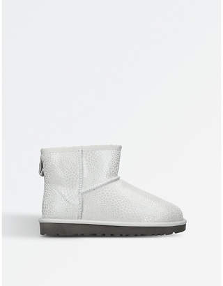 UGG Ladies Silver Textured Classic Mini Glitzy Suede Boots