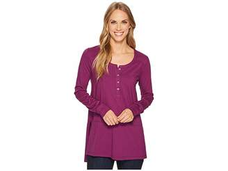 Mod-o-doc Deluxe Jersey Long Sleeve Henley Tunic with Side Slits Women's Blouse