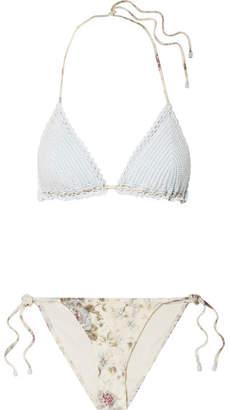 Zimmermann Iris Crocheted Cotton And Floral-print Triangle Bikini - Sky blue