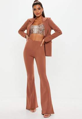 Missguided Rust Crepe Flared Pants