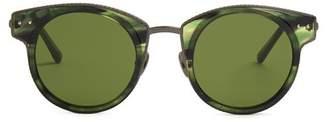 Bottega Veneta - Round Frame Acetate Sunglasses - Mens - Green Multi