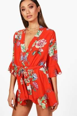 boohoo Floral Kimono Style Playsuit