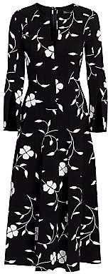 Oscar de la Renta Women's Pleated Floral Wool-Blend Midi Dress