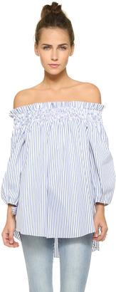 Caroline Constas Lou Off the Shoulder Blouse $395 thestylecure.com
