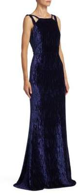 Badgley Mischka Textured Floor-Length Velvet Gown