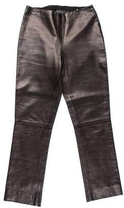 Gucci Leather Mid-Rise Pants