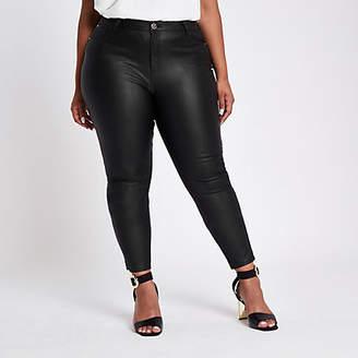 River Island Plus black coated skinny jeans