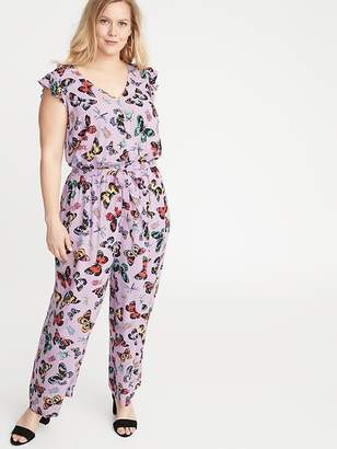 Old Navy Butterfly-Print Tie-Belt Plus-Size Jumpsuit