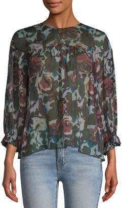 Anna Sui Women's Floral Cut-Out Blouse